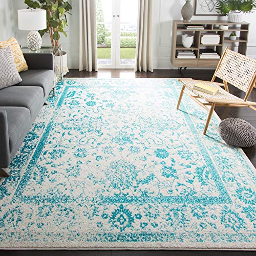 Safavieh Adirondack Collection ADR109D Oriental Distressed Non-Shedding Stain Resistant Living Room Bedroom Area Rug, 8' x 10', Ivory / Teal