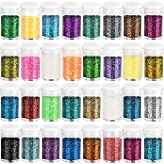 32 MULTI COLOR ASSORTED SET: Featuring 32 Assorted bright and sparkling colors, white, snow white, sky blue, aqua blue, fluorescent blue, royal blue, lake blue, blue, metal blue, forest green, fluorescent green, green, apple green, purple, plum, viol...