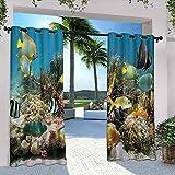 Cortinas de patio al aire libre, colorido colonia de coral en arrecife, hermosa imagen de pez tropical del mar Caribe, para dormitorio, sala de estar, porche, pérgola, 120 x 96 pulgadas, multicolor