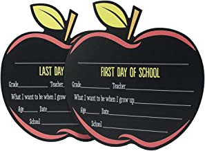 Canopy Street First & Last Day of School Reusable Chalkboard Sign Photo Prop Set - Easy Clean Back to School and Last Day Sign - Unique Apple Design 12.5