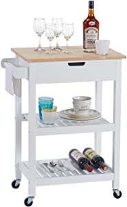 Linio-home Microwave Carts Rolling Kitchen Island Cart with Wheels, White Kitchen Cart with Storage and Drawers, Small Moveable Cart