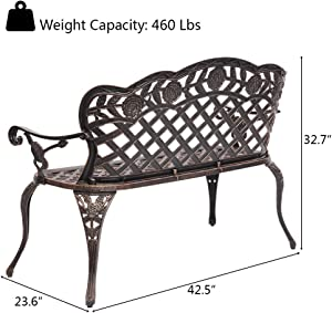 "VINGLI 42.5"" Patio Garden Bench Outdoor Metal Rose Loveseat,Cast Iron Cast Aluminium Frame Antique Finish Park Chair,Accented Lawn Front Porch Path Yard Bronze Decor Deck Furniture for 2 Person Seat"