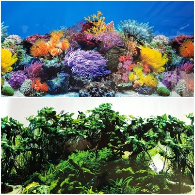 Karen Low New!! 23 Inch Height Aquarium Background Coral and...