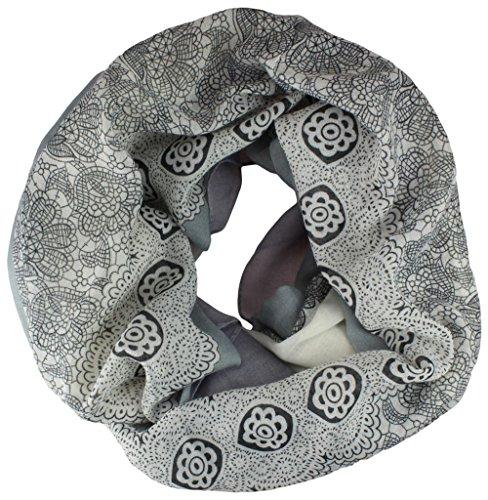 Alex Flittner Designs Loop Schlauchschal 2 farbig in lila/grau - 1 Seite mit Muster und eine mit Farbverlauf