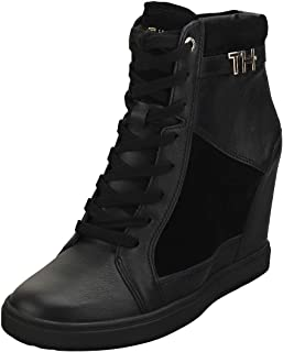 TOMMY HILFIGER Hardware Sneaker Womens Wedge Trainers in Black - 6.5 US
