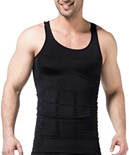 PHCOMRICH Mens Slimming Tank Top Compression Body Shaper Slim Shirt Abs Vest Workout Abdomen Undershirts