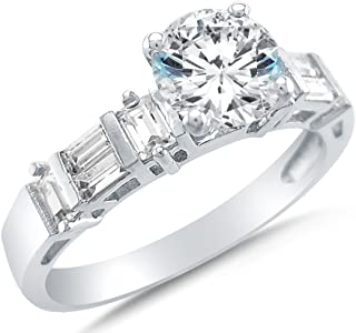 Solid 14k White Gold Round Brilliant Cut Solitaire with Baguette Side Stones CZ Cubic Zirconia Engagement Ring 2.0ct.
