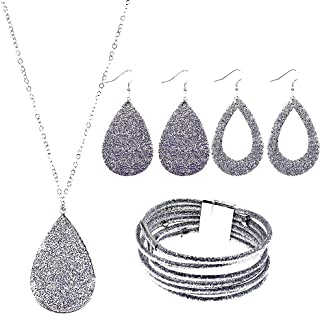 4 Pieces Glitter Faux Leather Dangle Earrings Necklace Bracelet Jewelry Set for Women Girls Bridal Wedding Multi-Layer