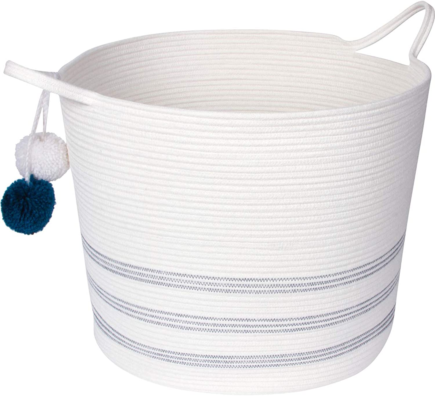 Sweetzer & orange Extra Large Woven Cotton Rope Storage Basket with Pom-Poms - 16.5 x20.5  - Blanket Storage Baskets, Laundry and Toy Storage, Nursery Hamper - Off White Navy XXL for Living Room