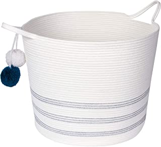 """Sweetzer & Orange Extra Large Woven Cotton Rope Storage Basket with Pom-Poms – 16.5""""x20.5"""" - Blanket Storage Baskets, Laundry and Toy Storage, Nursery Hamper - Off White/Navy XXL for Living Room"""