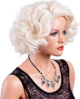 GNIMEGIL Short Big Curly Wavy Layered Wigs for Women Cosplay Party Marilyn Costume Synthetic Fiber Platinum Blond Hair Full Wigs