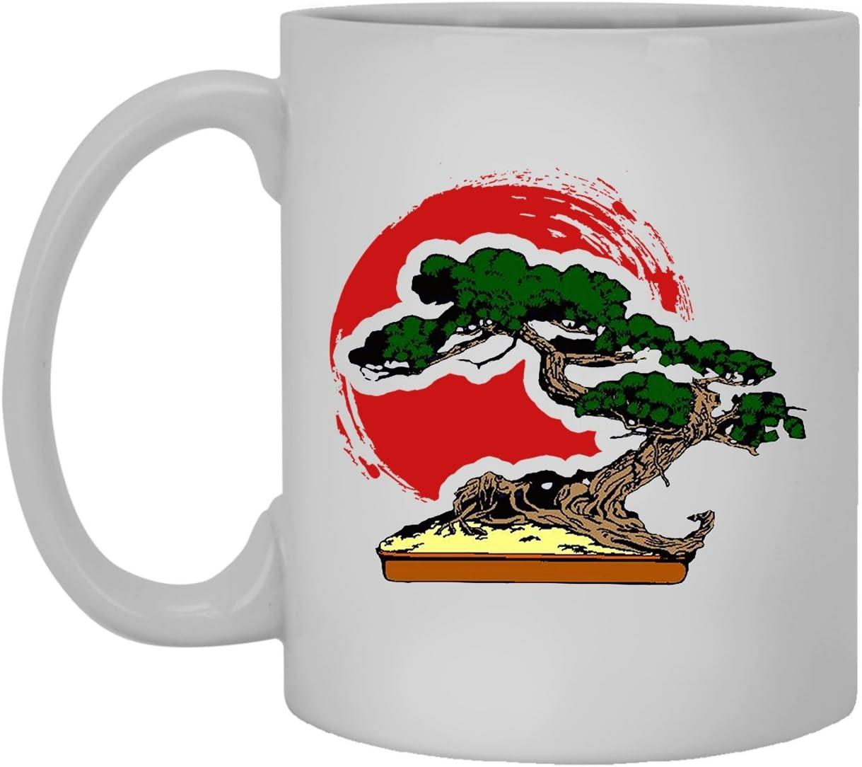 Amazon Com Bonsai White Ceramic Mug Bonsai Tree Coffee Mug 11oz Kitchen Dining