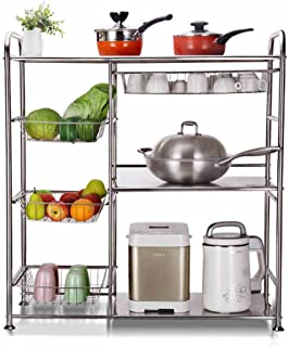 QFF 304 estanterías vegetales de acero inoxidable/piso de varios pisos cocina horno de microondas rack/rack de almacenamiento