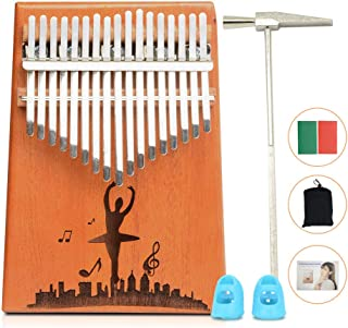 Apelila 17 Key Kalimba Thumb Piano, Solid Mahogany Wood Body Finger Piano with Tune Hammer,Carry Bag,Pickup,Key Stickers (Wood(dancer))
