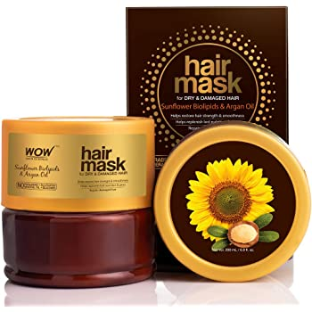 WOW Skin Science Sunflower Biolipids & Argan Oil Hair Mask for Dry & Damaged Hair, 200mL