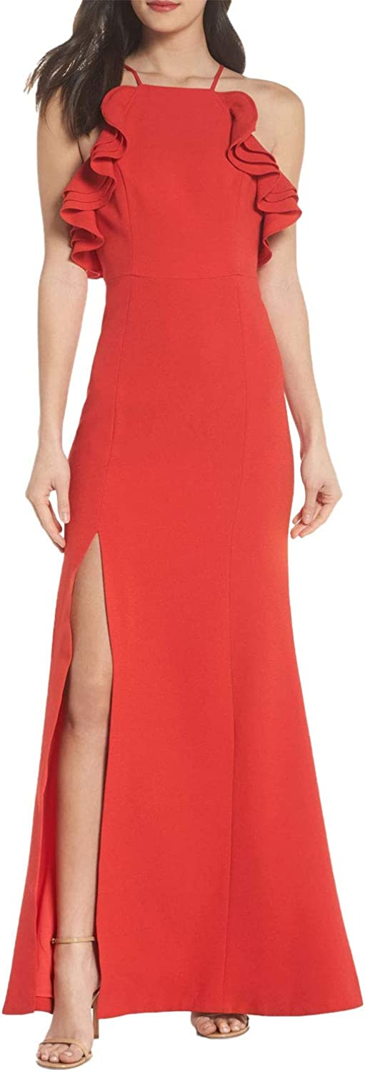 C/Meo Collective Women's Outline Fit and Flare Gown with Ruffle Detail and Side Slit