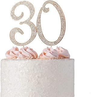30 ROSE GOLD Cake Topper | Premium Sparkly Crystal Rhinestone Diamond | 30th Anniversary or Birthday Cake Topper Decoration Ideas | Thirty Cake Topper | Perfect Keepsake (30 Rose Gold)