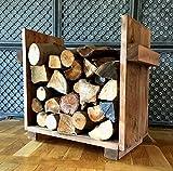Estantería para leña de chimenea, soporte para leña, soporte para leña, estante vintage de madera, listo para montar (marrón)