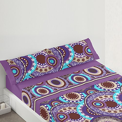 Burrito Blanco - Juego de sábanas 081 Lila de cama de 90x190/200 cm