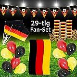 Murago Fan-Set 29 Teilig Deutschland Deko EM WM Fanartikel Fanpaket Fußballparty