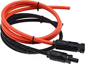 Super Cloud 1 Pair Black + Red 10AWG(6mm²) MC4 Solar Adaptor Cable Solar Panel Extension Cable Wire MC4 Connector Solar Extension Cable with MC4 Female and Male Connectors (3 FT)