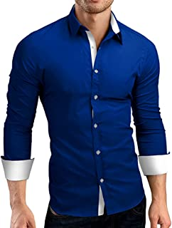 GRMO Men Long Sleeve Oxford Slim Easy-Care Button up Dress Shirts
