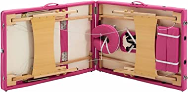Lshbwsoif Table de massage pliante 3 zones en bois rose table de massage portable table de massage