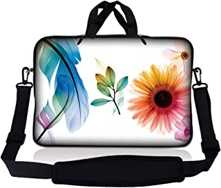Laptop Skin Shop 8-10.2 inch Neoprene Laptop Sleeve Bag Carrying Case with Handle and Adjustable Shoulder Strap - Daisy Fl...