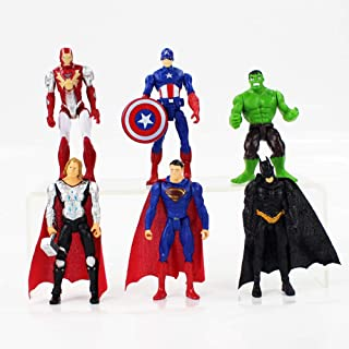Superhero Action Figures - 6 عدد مجموعه اکشن فیش PCS - بتمن ، سوپرمن ، هالک ، ثور ، آیرونمن ، کاپیتان امریکا فیگورهای جشن تولد اسباب بازی های پی وی سی شکلات ، تزیینات کیک کریسمس