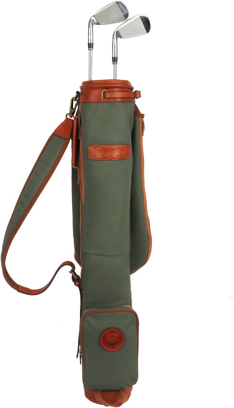 TOURBON Vintage Golf Club Carry Bags Travel Case - Canvas and Le