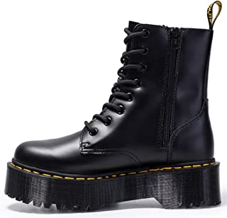 Dr. Martin unisex boots Thick bottom 8-hole Martin boots side zipper British short boots lace-up bottom lace-up tooling boots Waterproof and anti-skid design (Color : Black, Size : 41)