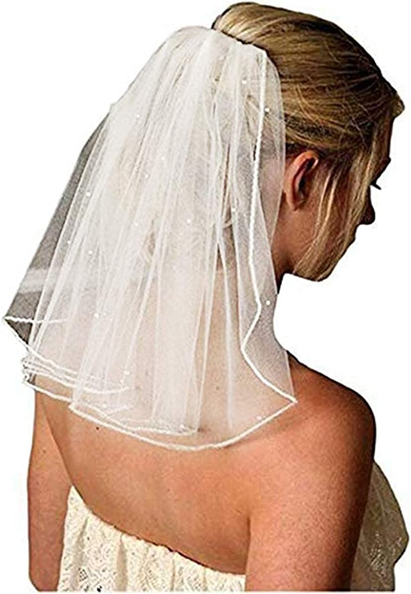 """Bridal Wedding Veil Women's Short Vails with Rhinestone Tulle for Bachelorette Party 38cm/15"""""""