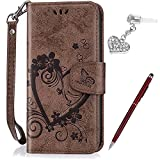 Galaxy J7 V Case,J7 Perx Case,J7 Sky Pro Case,Embossing Love Butterfly Flower Flip Folio Wallet Case PU Leather Stand Card Slots Protective Case +Touch Pen Dust Plug for Galaxy J7 2017 Case,Brown