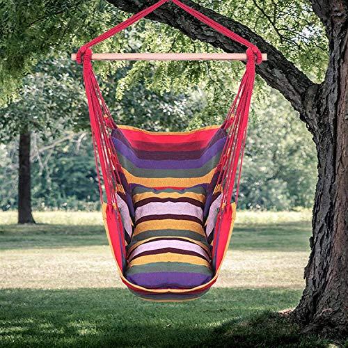 Hamaca Silla Colgante Silla de cuerda colgante de lona de algodón distintivo, silla colgante de 2 almohadas, hamaca de poliéster de algodón colgante adecuado para patio patio patio jardín balcón pórti