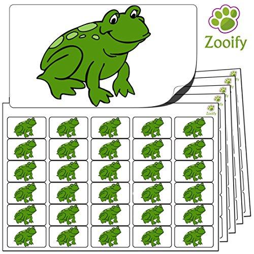 480 x Aufkleber - Frosch (38 x 21 mm). Hochwertige selbstklebende Etiketten mit Tiermotiv von Zooify.
