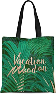 Semtomn Cotton Canvas Tote Bag Lush Botanic Vacation Mood on Palm Leaves and Rose Reusable Shoulder Grocery Shopping Bags Handbag Printed