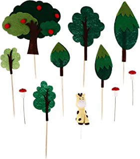 TOYANDONA Kids Birthday Cupcake Topper Forest Party Forest Animal Felt Cake Toppers Cake Decorations Dessert Picks Cake Or...