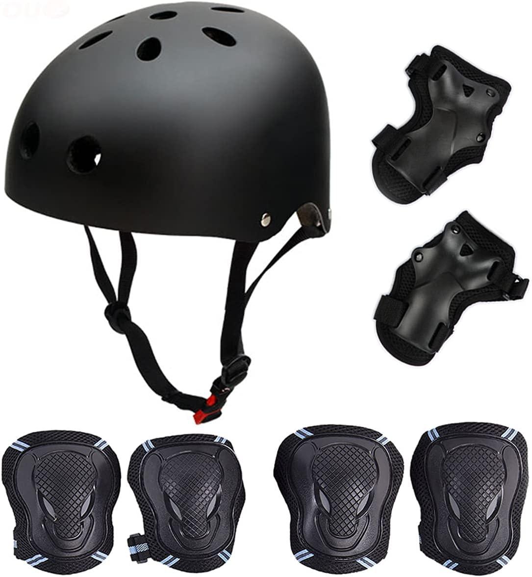 Skateboard/Skate Protektoren Set mit Helmet - Skate Helmet Knie Pads Elbow Pads mit Handgelenkschoner für Skate Skateboard Roller Skate BMX Bike...