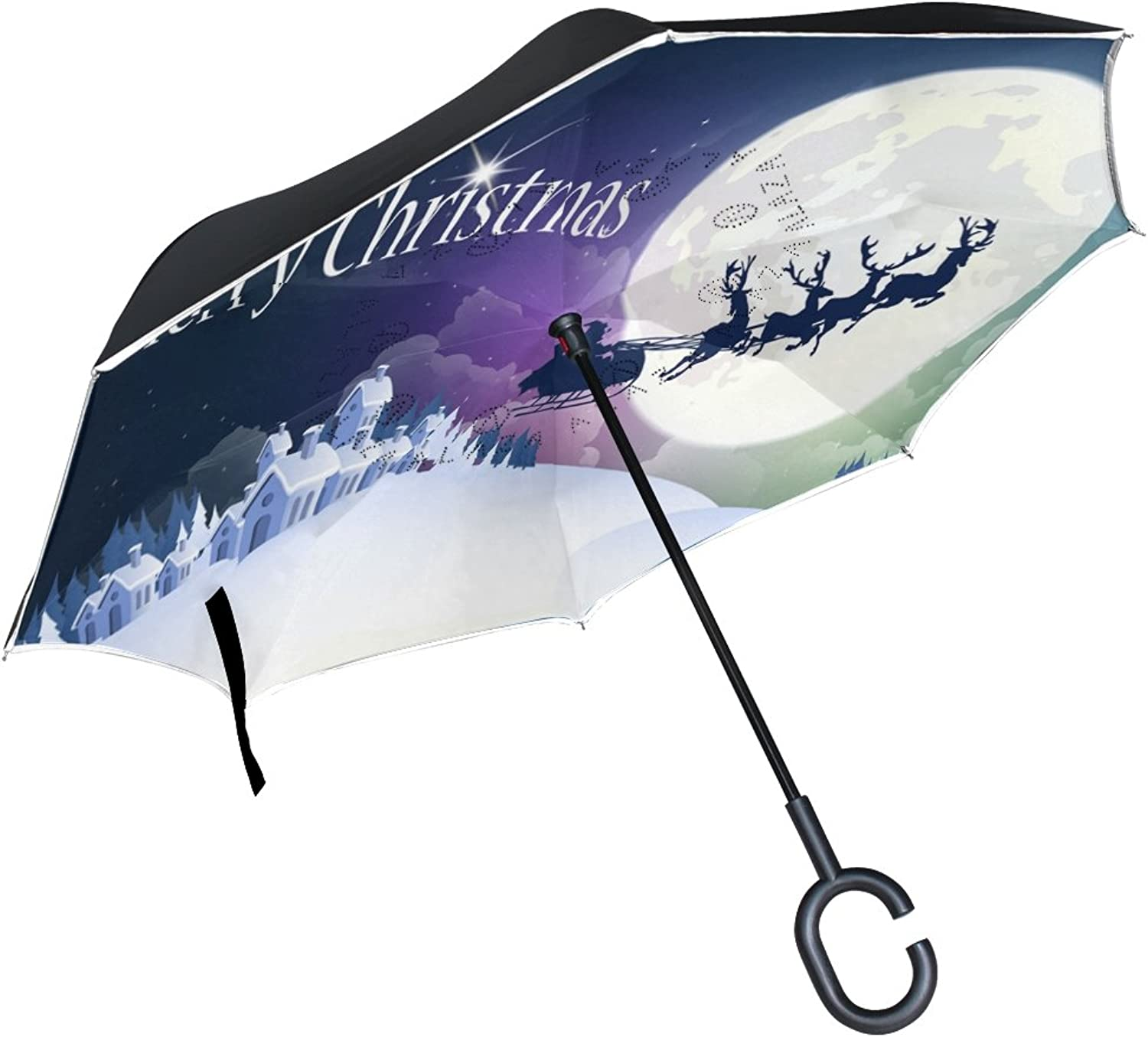 MAPOLO Christmas Pattern Ingreened Double Layer Straight Umbrellas InsideOut Reversible Umbrella with CShaped Handle for Rain Sun Car Use