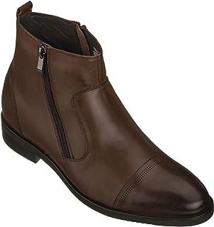 CALTO Chaussures montantes invisibles pour homme - Cuir de qualité supérieure - Fermeture éclair - 8,1 cm de haut