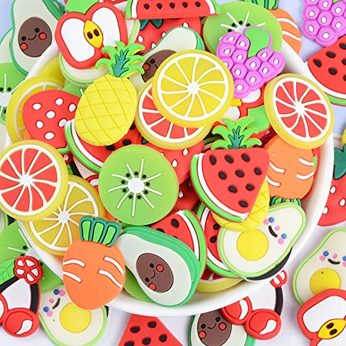 50 Pack Cute Fruit Shaped Resin Charms Flatbacks Buttons Polymer Clay Beads for Miniature Fairy Garden Hair Accessories Jewelry Making Home Decorations (Mixed)