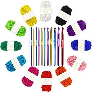 Crochet Thread Kit, 12-Strand Acrylic Yarn (12 * 10g), with 12 Braided Aluminum Crochet Hooks,2-8mm,Used to Make Blankets,...