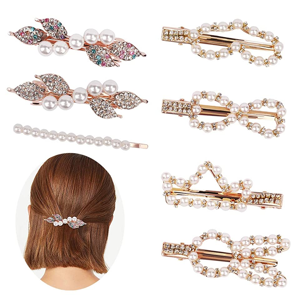Jaciya Pearls Hair Clips for Women Girls - 7 pcs Large Bows/Clips/Ties for Birthday Valentines Day Gifts Bling Hairpins Headwear Barrette Styling Tools Accessories