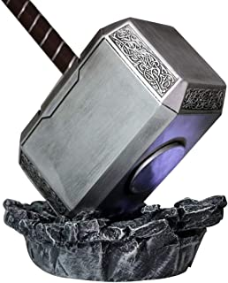 Gmasking 2018 Norse Mythology Resin Mjolnir Thor Cosplay Hammer 1:1 Props (Light-up Base)