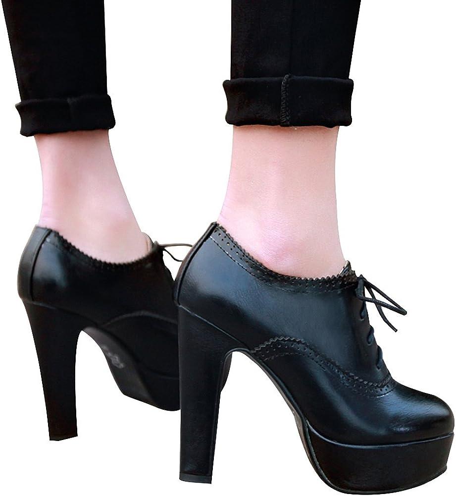 ANUFER Women Vintage High Platform Block Heel Court Shoes Elegant Brogue Oxfords//Derby Lace-ups