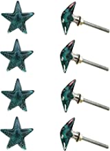 Indian-Shelf Handmade Glass Star Furniture Knobs Dresser Pulls Cupboard Handles(Turquoise, 1.5 Inches)-Pack of 8