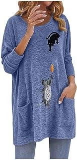 Afazfa_women Sweatshirt Cartoon Cat Print Pockets Long Sleeve O-Neck Loose Top T-Shirt Blouse