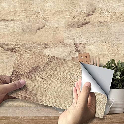 Estilo Americano 3D Etiqueta de baldosas Decorativas de Madera Papel Tapiz Pelar y Pegar Calcomanías de baldosas de Vinilo para baño Balcón Cocina Escalera Oficina DIY Decoración para el hogar