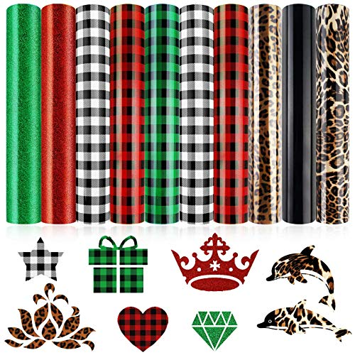 """10 Sheets Christmas Heat Transfer Vinyl, Buffalo Plaid PU Glitter Heat Transfer Vinyl, Assorted HTV Iron on Vinyl Patches for Clothes Bag Hat (Red, Green, Black-White, Leopard, 12"""" x 10"""")"""