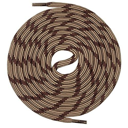 Mount Swiss runde Schnürsenkel für Wanderschuhe, Trekkingschuhe und Arbeitsschuhe - extra reißfest - ø 5 mm Farbe Braun-Beige-m2 Länge 130cm
